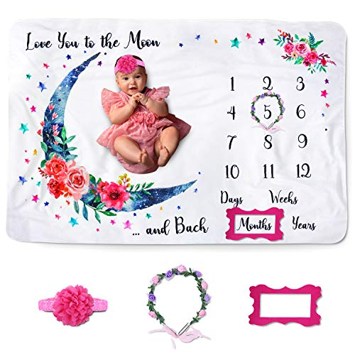 """JamieampJayden Baby Monthly Milestone Blanket for Baby Girl Photo Blanket for Newborn and Baby Pictures Includes Headband Wreath and Frame 60""""x40"""