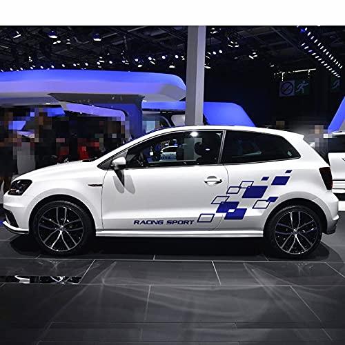XINERJIA Racing Lattices Sticker decoración de la Puerta del Cuerpo del Coche calcomanía de Vinilo en Ambos Lados Pegatina de Bricolaje para Volkswagen Polo Golf CC GTI-R Line-R WRC-TSIRojo