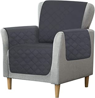 RHF Diamond Chair Covers, Chair Cover, Chair Covers for Living Room, Chair Cover for Dogs, Chair Slipcover, Chair Protector, Machine Washable, Double Diamond Quilted(Chair:Charcoal/Grey)