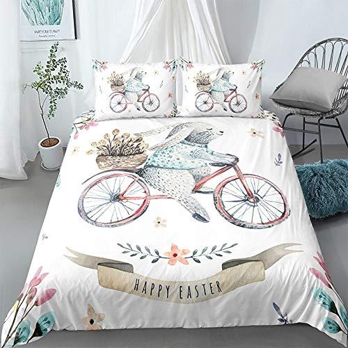 ZHLY Bedding Duvet Cover,Quilt Sets,Cartoon 3D Rabbit Print 2 / 3Pcs, Children Boy/Girl Room Quilt Cover With Pillowcase, Eudouble210X210Cm 1636