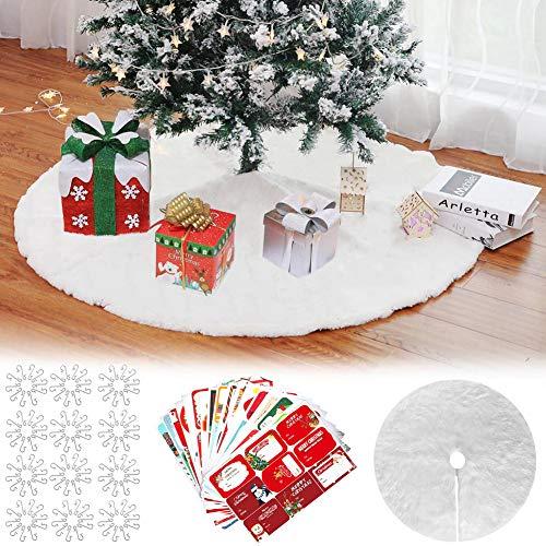 Hook Weihnachtsbaumdecke Christbaumdecke Rund Baumdecke, Tannenbaum Decke Weihnachtsbaum Rock Unterlage, Christmas Tree Skirt Weiß + 60x Weihnachtsbaum Haken, 102pcs Aufkleber.