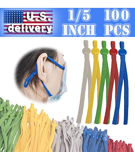 Elastic String for Masks,Elastic Bands for Sewing with Adjustable Buckle (100 Count (Pack of 1), Multi-Color)