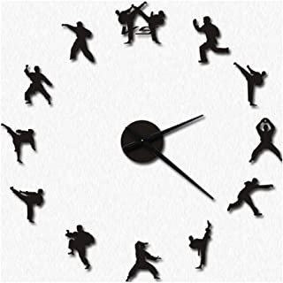 Wall Clocks Battery Operated 3D Sticker DIY Kit Acrylic Frameless Design Silent Battery Operated Non Ticking Taekwondo Martial Arts Hall Living Room Large Decorative Clock with Indoor Tempe