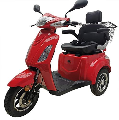 "Elektromobil ""VITA CARE 1000"", 25 km/h, 60 Kilometer Reichweite, Seniorenmobil, E-Roller, E-Scooter mit Straßenzulassung, Elektroroller, Senioren Elektromobil, Produktvideo, Rot"