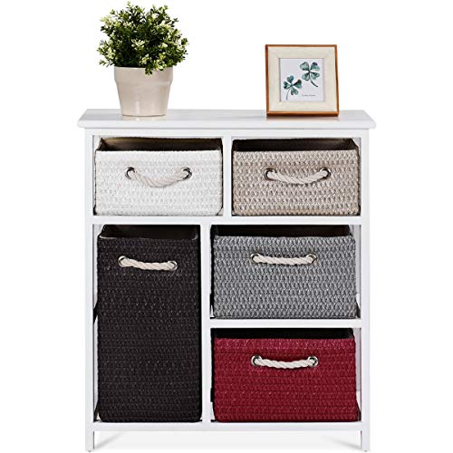 COSTWAY 3-Tiers Wooden Drawers Storage Cabinet Rack, 5 Wicker Woven Baskets Organiser Beside Chest, Home Office Bedroom Side Cupboard Unit