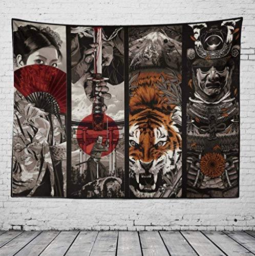 Yhjdcc Samurai Geisha - Tapiz de tela para colgar en la pared, manta para casa de campo, decoración para el hogar, manta bohemia, decoración para colgar en la pared, 150 cm x 200 cm