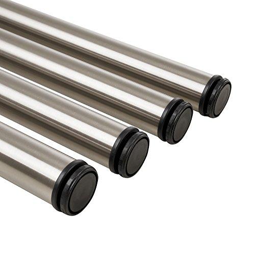 Gedotec Tischbeine Edelstahl Tischfuß Möbelfüße höhen-verstellbar aus Metall | Höhe 710 mm | Möbel-Beine für Tischplatten - Schreibtisch | 4er Set - Verstellfuß rund inkl. Befestigungsmaterial