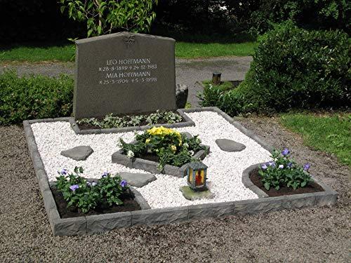 Bordure de tombe en Graphikstein® 120 x 120 cm mit 1 Bogen Bruchstein-Grau