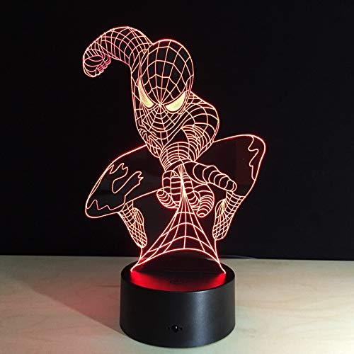 Solo 1 pezzo Superhero game movie spider Lampada da tavolo 3D Illusione ottica Bulbing Lampada da notte che cambia lampada dell'umore