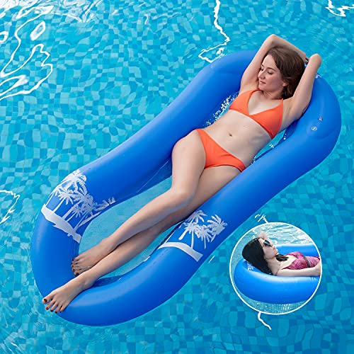 MiiDD Aufblasbare Float,Wasserhängematte mit Netz,Luftmatratze Wasser Pool Hängematte Wasserliege Schwimmring mit Netz,165x75x25cm(Blau)