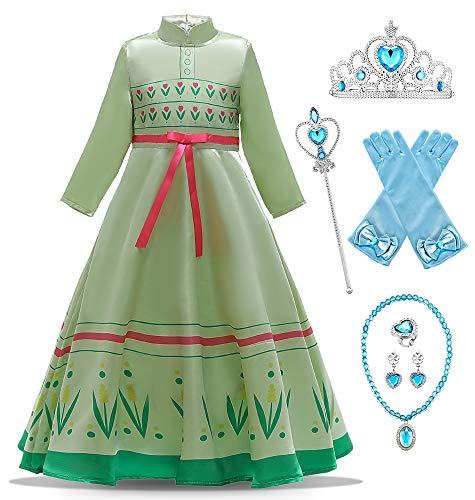 O.AMBW Disfraz de Princesa Anna Celebración Aniversario Regalo Cumpleaños Hermana Reina Elsa Vestido Casual Primavera Verano Cosplay Carnaval Disfraz de Halloween con Accesorios para niñas