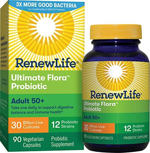 Renew Life Adult Probiotic - Ultimate Flora Adult 50+ Probiotic Supplement - Shelf Stable, Gluten, Dairy & Soy Free - 30 Billion CFU - 90 Vegetarian Capsule...