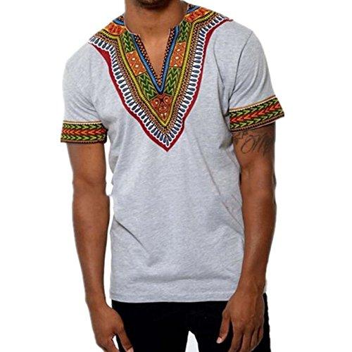 Juleya Herren Kurzarm Casual T-Shirt Afrikanischen Stil Bluse Tops V Veck Grau L
