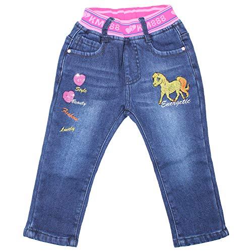 Sotala Mädchen Thermo Kinderhose Kinderjeans Thermohose Thermojeans Jeans Hose mit Fleece Winterhose Blau Pferd Applikation