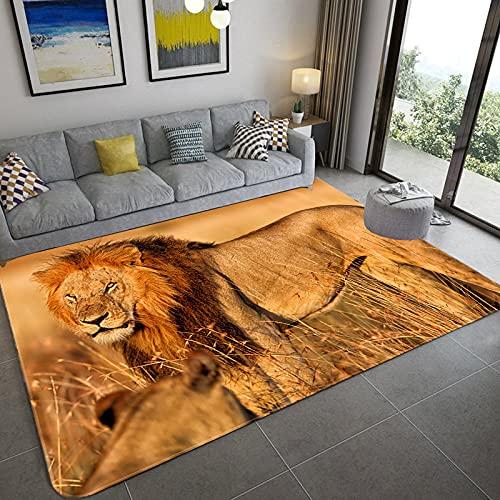 XuJinzisa Moderno León Animal 3D Impreso Alfombra Alfombra De Sala De Estar Esponja Suave Alfombra De Baño Alfombra De Piso De Cocina Felpudo O8404 60X90Cm