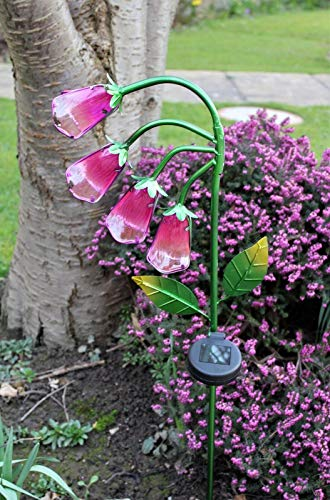 Garden Fox Glove Glass Solar Stake Light Garden LED Decoration 89 cm