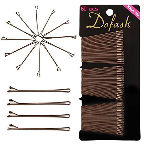 Dofash 60 Stück 2IN/5CM Flache Haarnadeln Braun Bobby Pins Haarzusätze für Damen Mädchen (Braun)