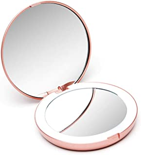 Fancii Compact Magnifying Mirror with Natural LED Lights, Daylight LED, Portable, Handheld 102mm Wide Illuminated Mirror for Purses (Lumi Mini) (1X/10X Magnification) (Rose Gold)