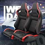 OKLEAD 2pcs Set Sports Style Racing Seats PVC Leather Reclinable Bucket Seat with Slider, Universal Fit for Most Vehicles