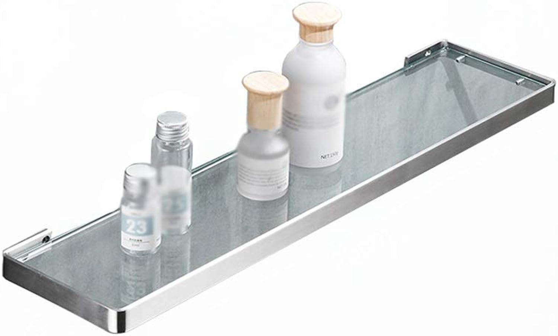 XSJJ Bathroom Shelf, 304 Stainless Steel Glass Shelf Wall Mounted Tempered Glass Dressing Table Mirror Front Frame for Bathroom Storage Finishing Bathroom Glass Shelf (Size   35CM)
