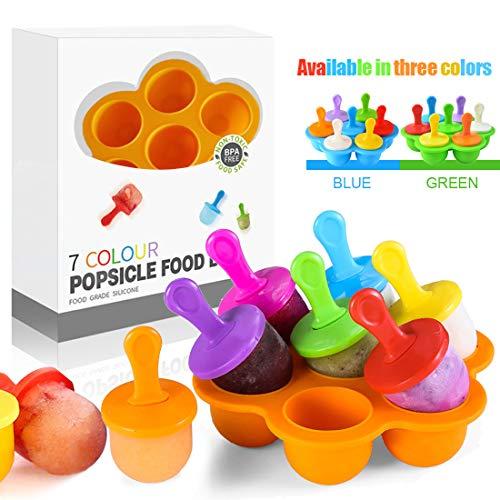 Eisförmchen Popsicle Formen, Mini Eisformen EIS Silikonform, Silikon EIS am Stiel Eislutscher Formen, Mini Eisform für Kinder, Baby, Förmchen zum Einfrieren von Obst oder Joghurt (Orange)