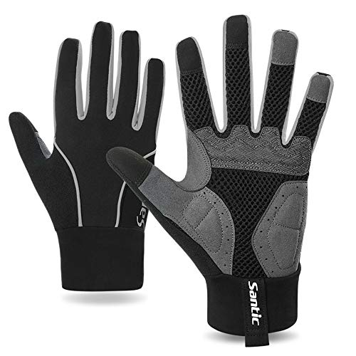 Santic Cycling Gloves - Motorcycle/Mountain Bike - Full-Finger Workout Gloves Road Bicycle Glove for Men or Women