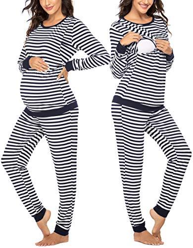 MAXMODA Damen Stillpyjama Sommer Umstandspyjama Set Baumwolle Still-Schlafanzug mit Langarm Shirt und Lang Hose, Rayas_armada, S