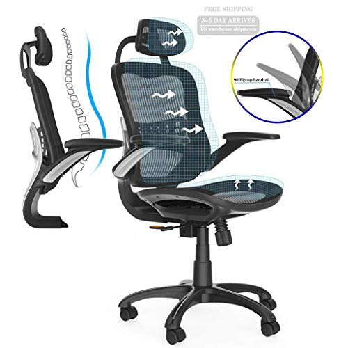 Komene Ergonomic Office Chair High Adjustable Back Mesh Desk Chairs,Gaming Chair Lumbar Support Modern Executive with Rolling Swivel Chair for Back Pain, Black