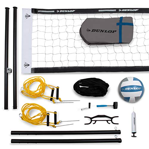 """DUNLOP Professional Outdoor Sports Volleyball Set: Portable Net with 2"""" Diameter Aluminum Telescoping Poles, Ball, Air Pump - Equipment for Backyard Party Games - Adjustable Height for Adults or Kids"""