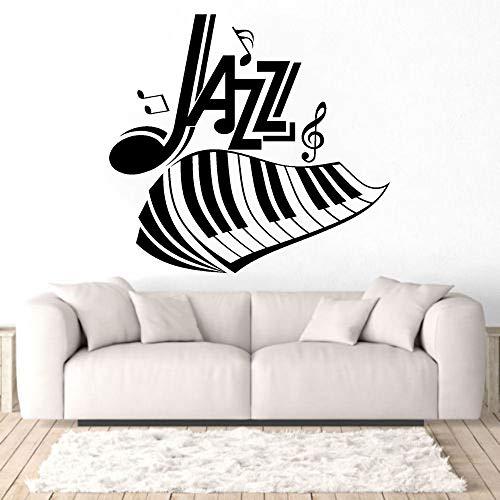 Dwzfme Pegatinas de Pared Adhesivos Pared Etiqueta engomada de la música de la Pared del Piano y de Las Notas de la Letra del Jazz para la decoración del hogar y de la Sala de música 86x80cm