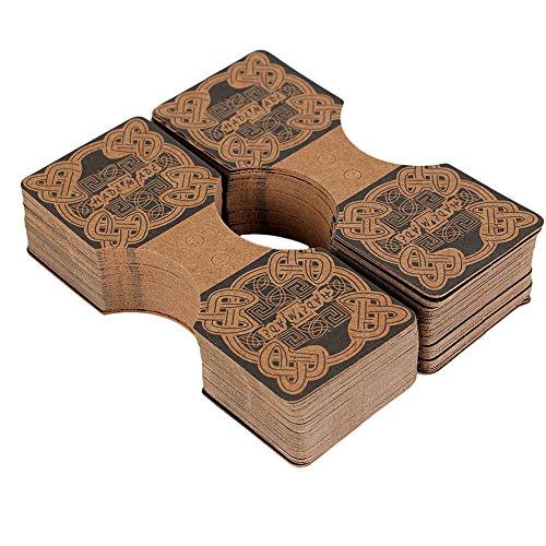 Pinzhi 100pcs Halsketten Armband Schmucksache Anzeigen Karten Hängende Faltende Verpackungs Halter Aufhänger Brown