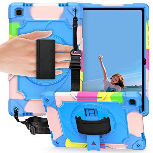DWaybox para Samsung Galaxy Tab A7 2020 Funda SM-T500 T505 de 10,4 Pulgadas, Correa de Mano para Hombro, Soporte Giratorio de 360°, Cubierta de 3 Capas Resistente a los Golpes -Arco Iris + Azul