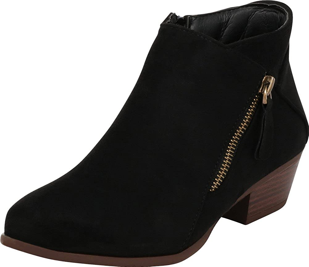 Cambridge Elegant Max 67% OFF Select Women's Side Zip Heel Low Chunky Ankle Stacked