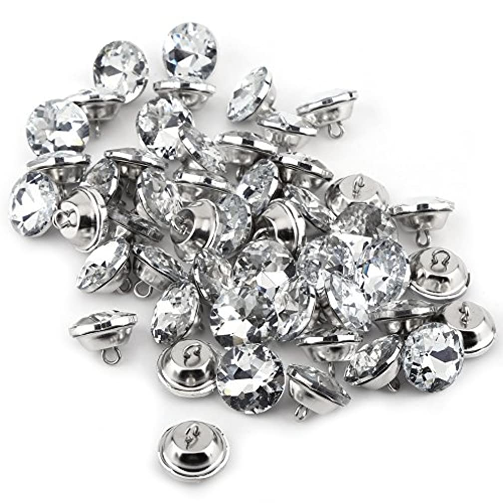50pcs Acrylic Crystal Clear Rhinestone Sewing Fastening Buttons with Metal Loop for Clothes Crafts Headboard Sofa (25mm)
