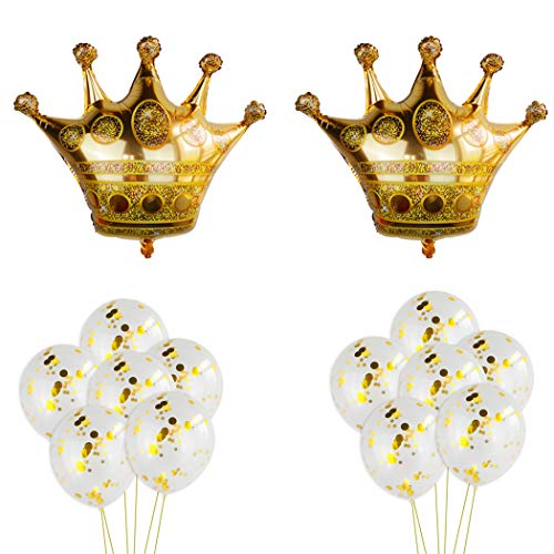 2Pcs Crown Balloons with 12Pcs Gold Confetti Balloons,Crown Foil Helium Balloons for Birthday Wedding Party Decoration (A)