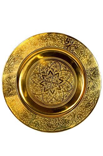 Orientalisches rundes Tablett aus Metall Sidra Gold 30cm | Marokkanisches Teetablett in der Farbe Gold | Orient Goldtablett goldfarbig | Orientalische Dekoration auf dem gedeckten Tisch