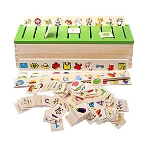 F Fityle Montessori Holz Steckspiel Sortierspiel Kinderspiele Kinder Spiele Spielzeug