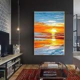 wZUN Mar Puesta de Sol Arte Pintura al óleo Imagen Paisaje hogar y decoración de Pared sobre Lienzo 60x90 Sin Marco
