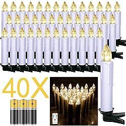 Froadp LED Kerzen 40 Stück mit Fernbedienung und Batterien Warmweiß LED Weihnachtskerzen Weinachten für Weihnachtsbaum, Weihnachtsdeko, Hochzeitsdeko