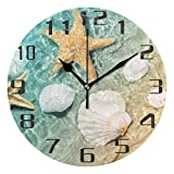 KUWT Beach Starfish Seashell Wall Clock Silent Non-Ticking 9.5 Inch Round Clock Acrylic Art Painting Home Office School Decor