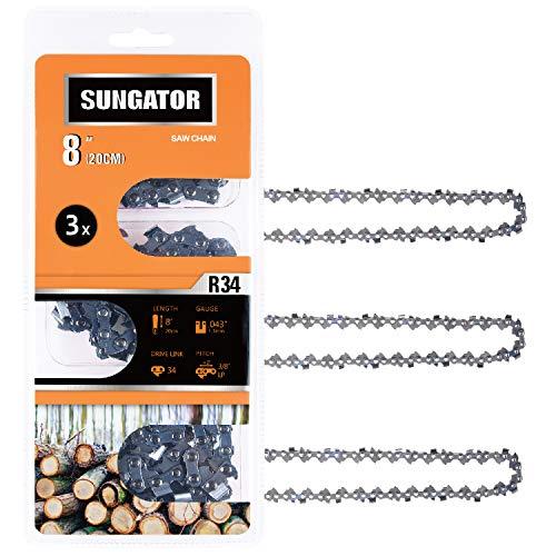 SUNGATOR 3-Pack 8 Inch Chainsaw Chain SG-R34, 3/8