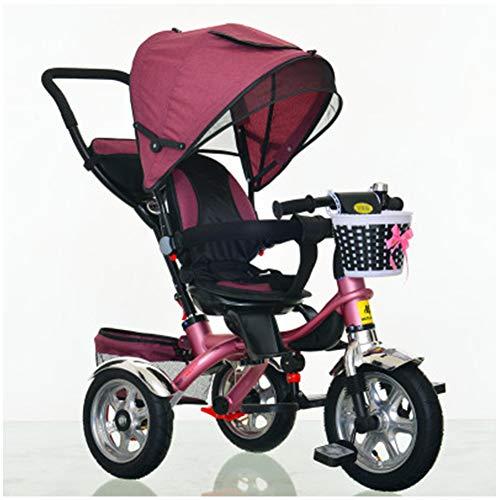 WWSC 4-in-1 Baby Dreirad Trike, Kinderwagen lenken, Fahrrad mit Abnehmbarer Leitplanke, verstellbarem Verdeck,...