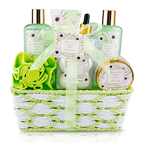 Bath Spa Basket Gift Set for Women, with Magnolia & Jasmine Scent, 8 Pcs Bath & Shower Kits,...