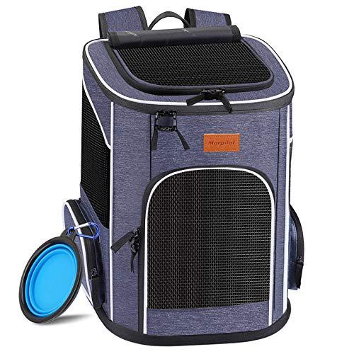 morpilot Hunderucksack, Katzenrucksack für Katzen und Hunde Welpen, Atmungsaktive und Faltbare Haustier Hunde Rucksack mit internem Sicherheitsgur (13 * 11 * 16.5 inch) + Faltbare Hundenapf