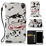 Galaxy S5 case, durable wrist strap wallet case with silicone bumper cover lightweight flip book shell case with credit card holder gift for samsung s5-cow