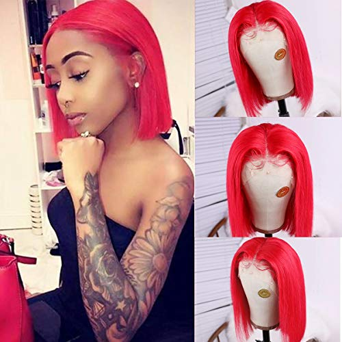 Short Lace Wigs 10inch Silky Straight Bob Wigs for Black Women 150% Density Lace Front Wigs Human Hair with Pre Plucked Natural Hairline Red Color