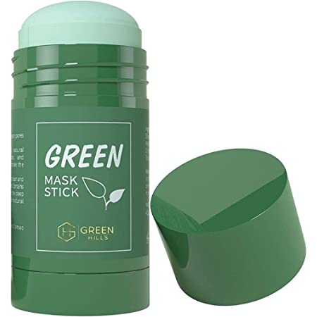 Green Mask Stick with Blackhead Remover, Clay Face Mask, Green Tea Extract, Oil Control Acne Remover, Pore Cleansing, Purifying, Detoxifying Skin for Men and Women