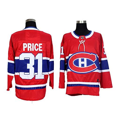 Yajun Carey Price#31 Montreal Canadiens Eishockey Trikots Jersey NHL Herren Sweatshirts Atmungsaktiv T-Shirt Bekleidung,Red,3XL