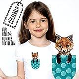 ilka parey wandtattoo-welt Bügelbilder Applikation Fuchs Bügelbild türkis Bügelmotiv bb140 - ausgewählte Farbe: *weiß* ausgewählte Größe: *S - 10,5 cm hoch