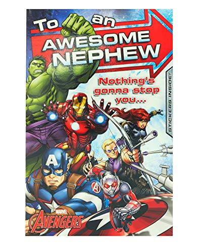 Geburtstagskarte für Neffen – Avengers Neffen Geburtstagskarte – ideale Geschenkkarte für ihn – Avengers mit Hulk, Iron Man, Captain America, Black Widow, Hawk Eye und Ameisenmann – Marvel